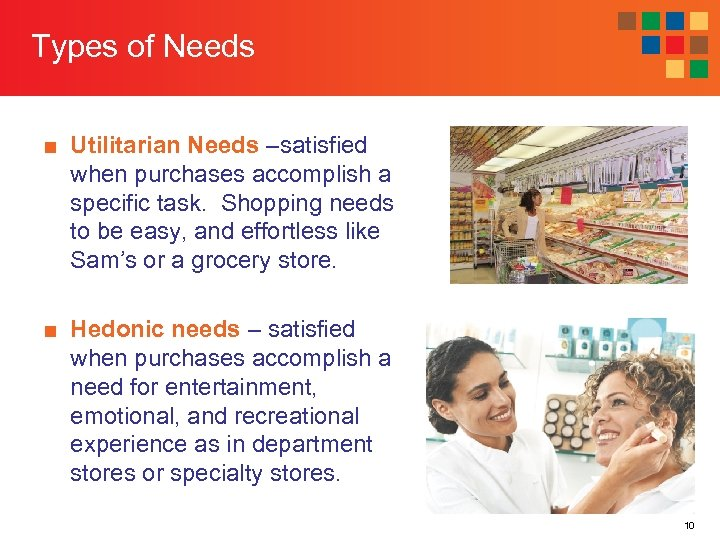 Types of Needs ■ Utilitarian Needs –satisfied when purchases accomplish a specific task. Shopping