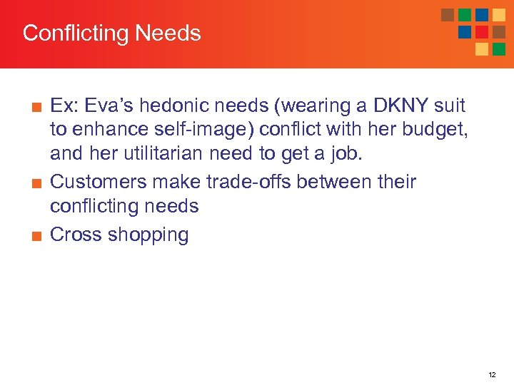 Conflicting Needs ■ Ex: Eva's hedonic needs (wearing a DKNY suit to enhance self-image)
