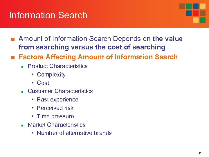 Information Search ■ Amount of Information Search Depends on the value from searching versus