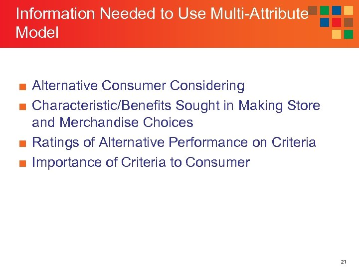 Information Needed to Use Multi-Attribute Model ■ Alternative Consumer Considering ■ Characteristic/Benefits Sought in