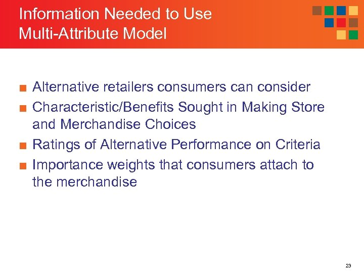 Information Needed to Use Multi-Attribute Model ■ Alternative retailers consumers can consider ■ Characteristic/Benefits