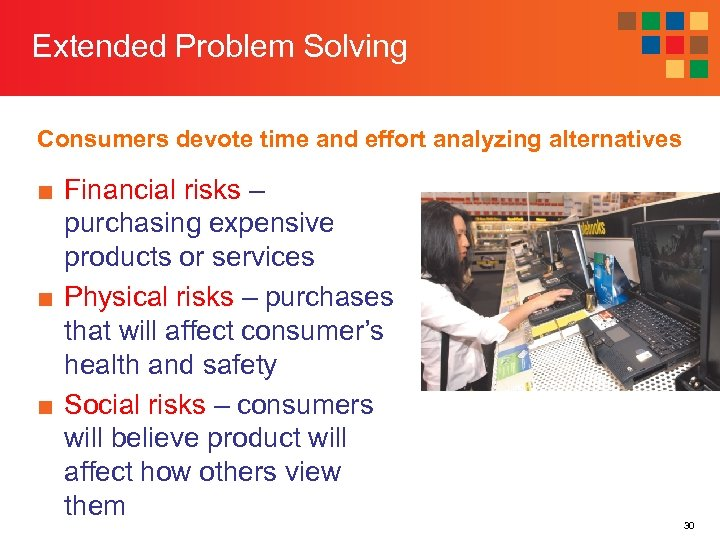 Extended Problem Solving Consumers devote time and effort analyzing alternatives ■ Financial risks –