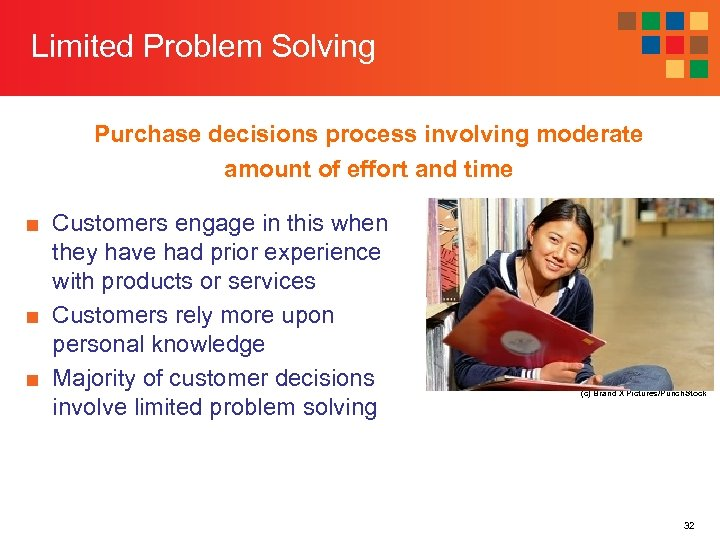 Limited Problem Solving Purchase decisions process involving moderate amount of effort and time ■