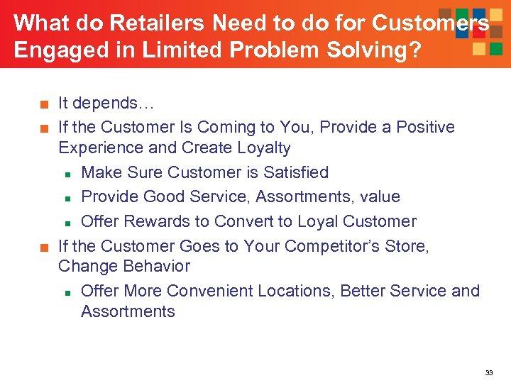What do Retailers Need to do for Customers Engaged in Limited Problem Solving? ■