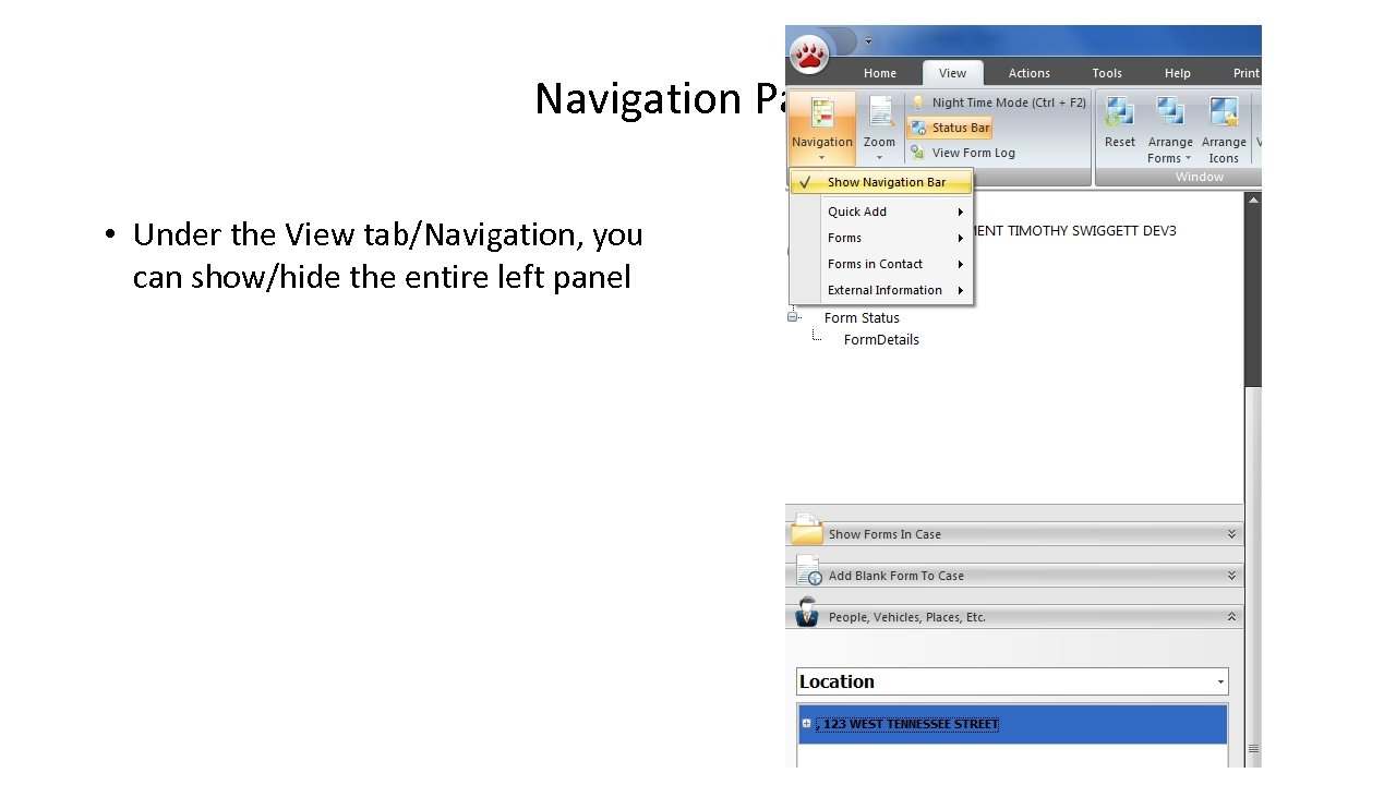 Navigation Panel • Under the View tab/Navigation, you can show/hide the entire left panel