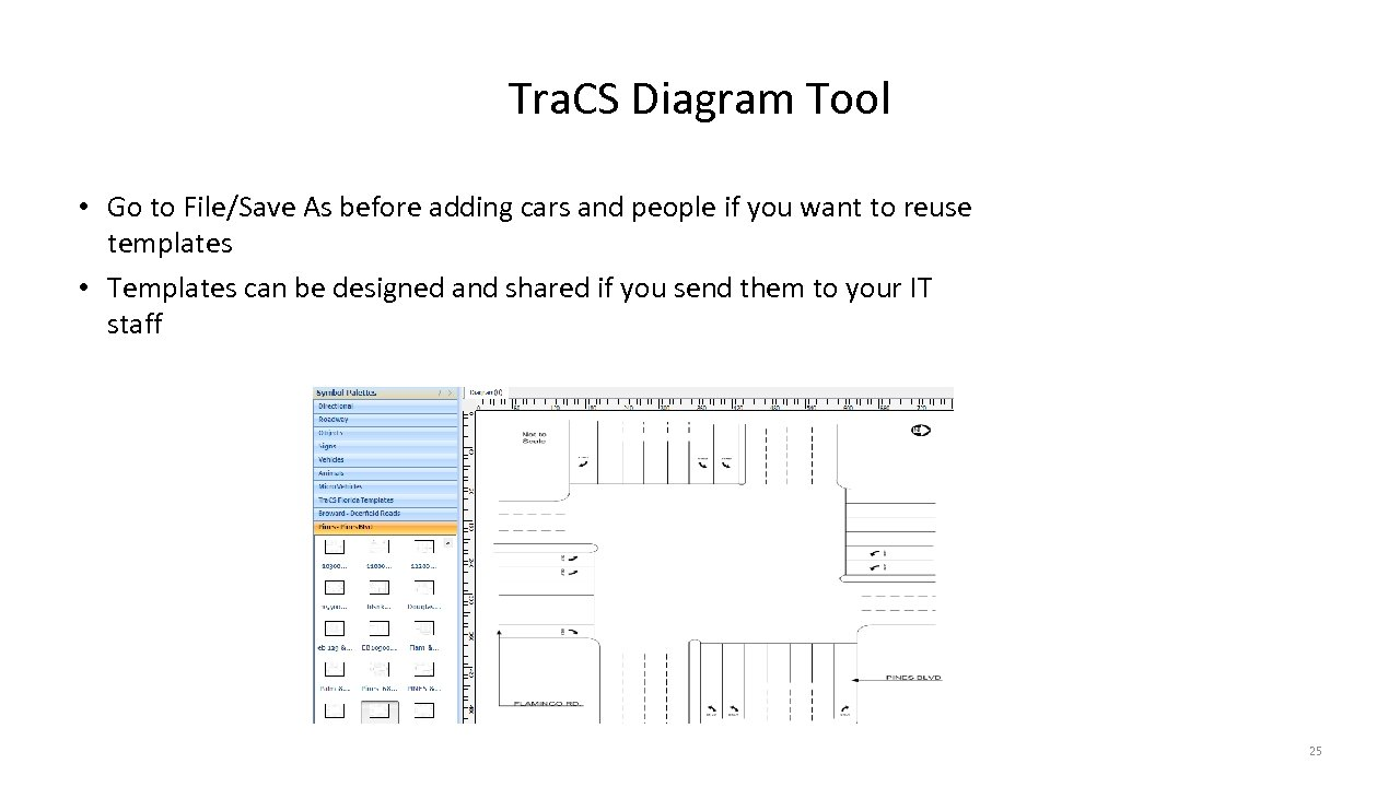 Tra. CS Diagram Tool • Go to File/Save As before adding cars and people