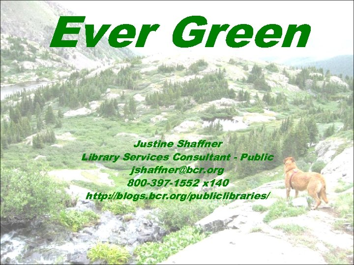 Ever Green Justine Shaffner Library Services Consultant - Public jshaffner@bcr. org 800 -397 -1552