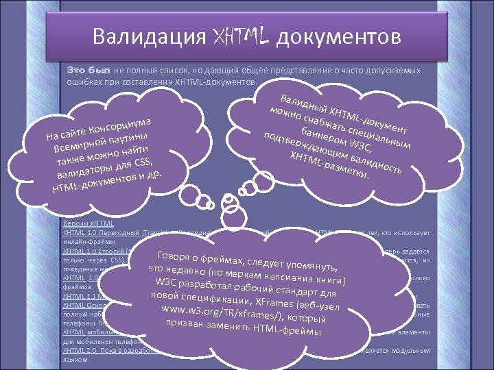 Валидация XHTML документов Это был не полный список, но дающий общее представление о часто