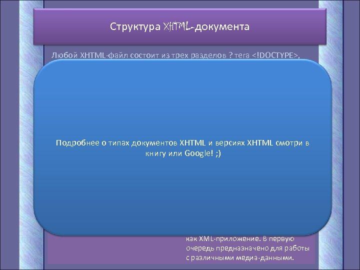Структура XHTML-документа Любой XHTML-файл состоит из трех разделов ? тега <!DOCTYPE>, заголовка (<HEAD>) и