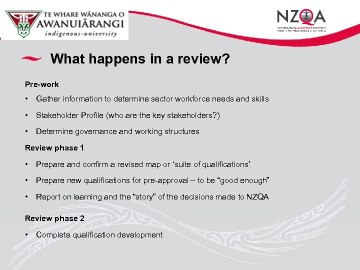 What happens in a review? Pre-work • Gather information to determine sector workforce needs