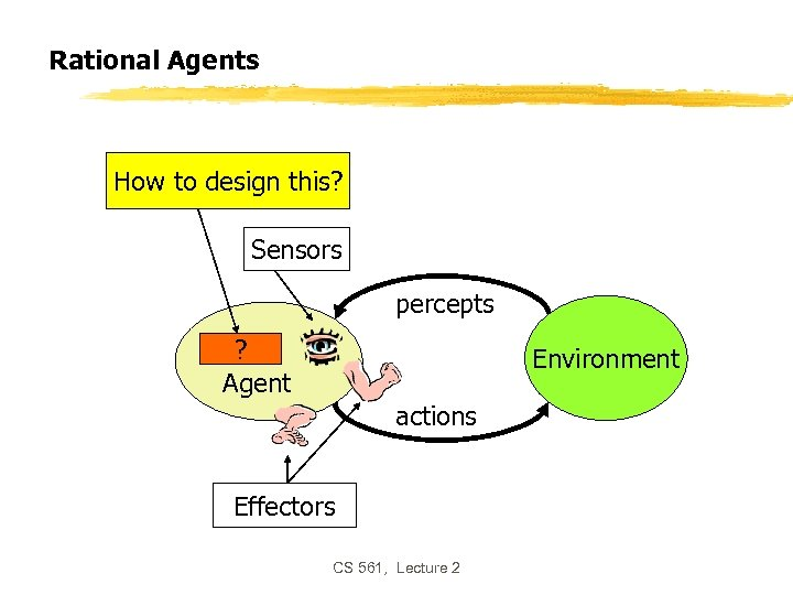 Rational Agents How to design this? Sensors percepts ? Agent Environment actions Effectors CS
