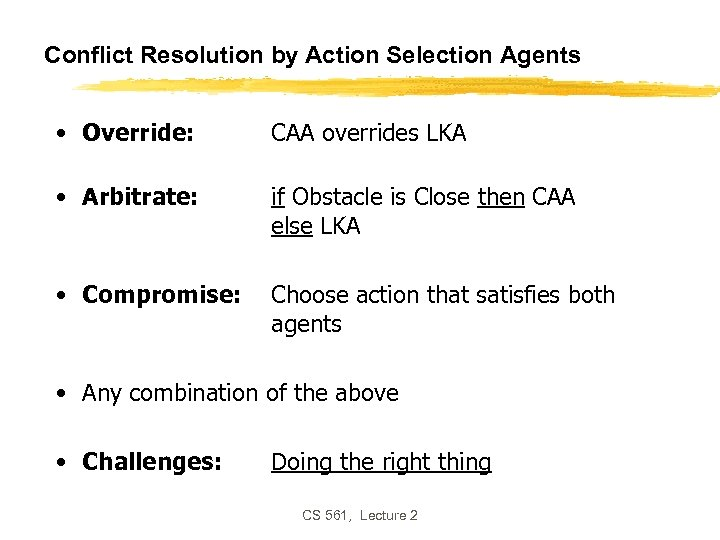Conflict Resolution by Action Selection Agents • Override: CAA overrides LKA • Arbitrate: if