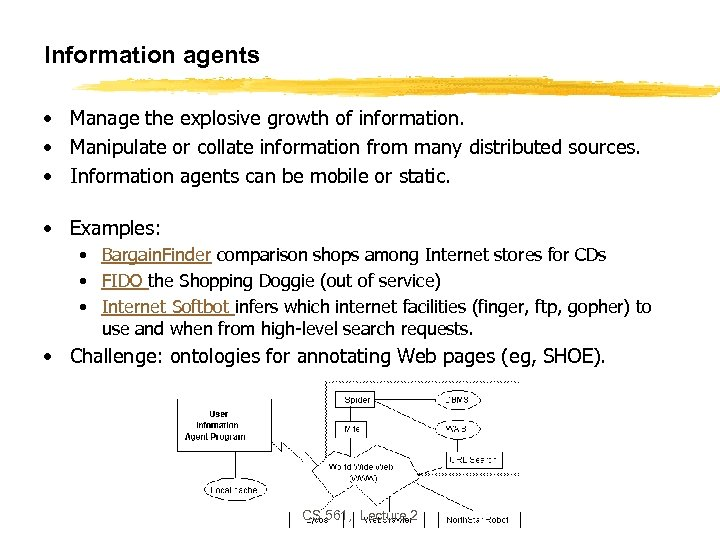 Information agents • Manage the explosive growth of information. • Manipulate or collate information