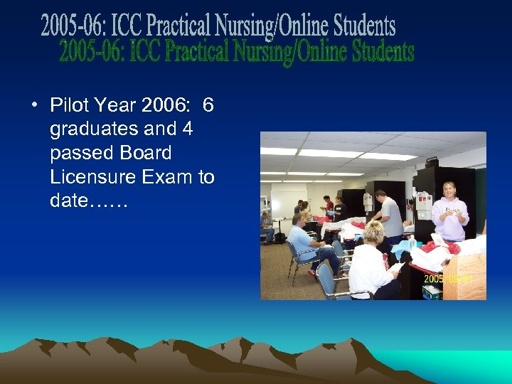 • Pilot Year 2006: 6 graduates and 4 passed Board Licensure Exam to