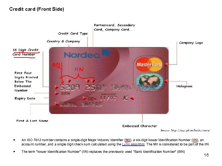 Credit card (Front Side) ¡ An ISO 7812 number contains a single-digit Major Industry