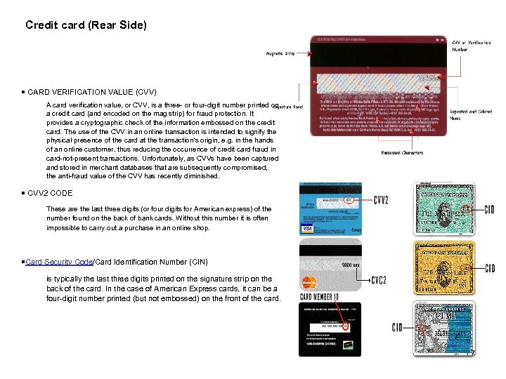 Credit card (Rear Side) ¡ CARD VERIFICATION VALUE (CVV) A card verification value, or