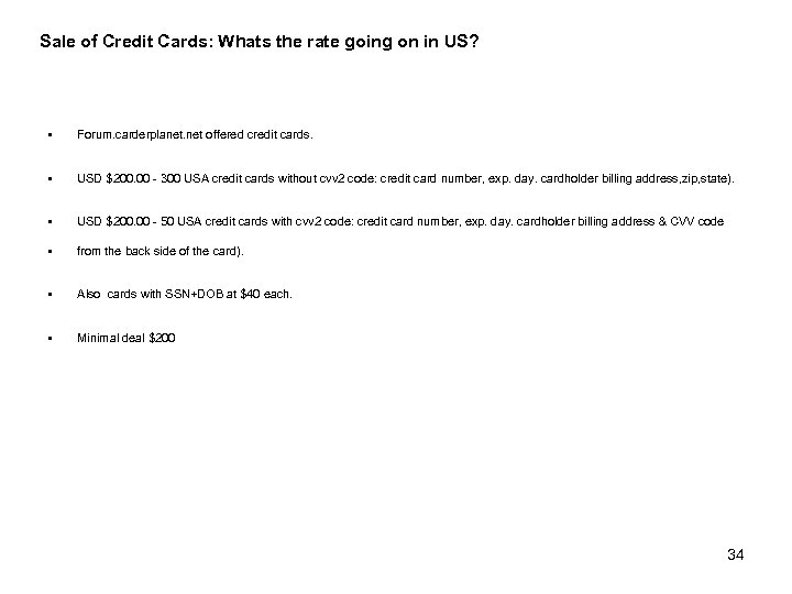 Sale of Credit Cards: Whats the rate going on in US? § Forum. carderplanet.