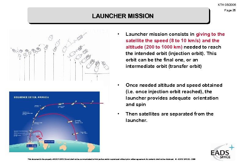 KTH 05/2006 Page 35 LAUNCHER MISSION • Launcher mission consists in giving to the