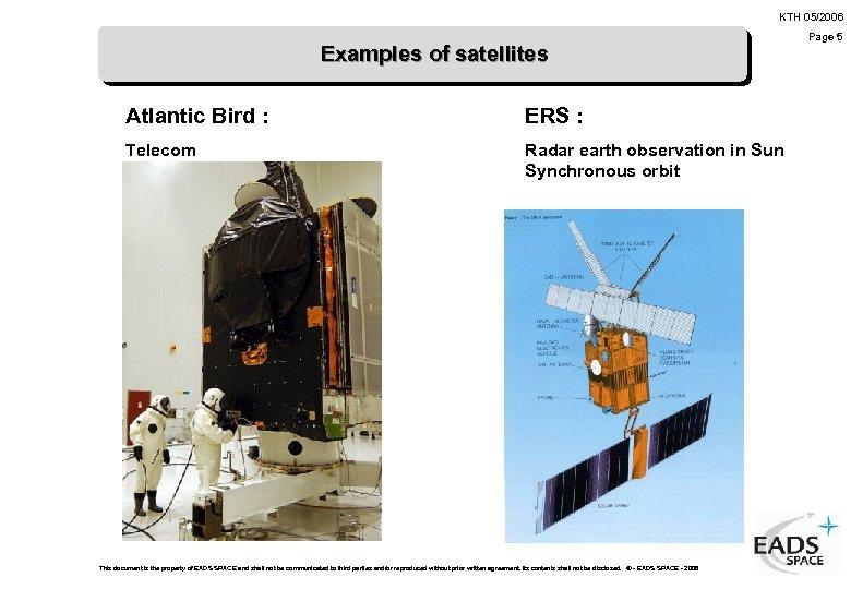 KTH 05/2006 Examples of satellites Atlantic Bird : ERS : Telecom Radar earth observation