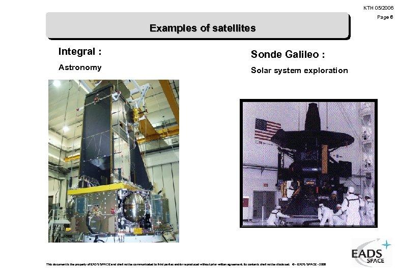 KTH 05/2006 Page 6 Examples of satellites Integral : Sonde Galileo : Astronomy Solar