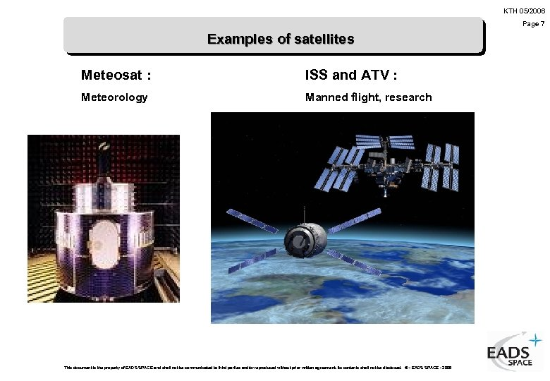 KTH 05/2006 Page 7 Examples of satellites Meteosat : ISS and ATV : Meteorology