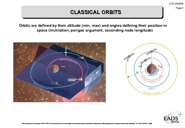 KTH 05/2006 CLASSICAL ORBITS Orbits are defined by their altitude (min, max) and angles