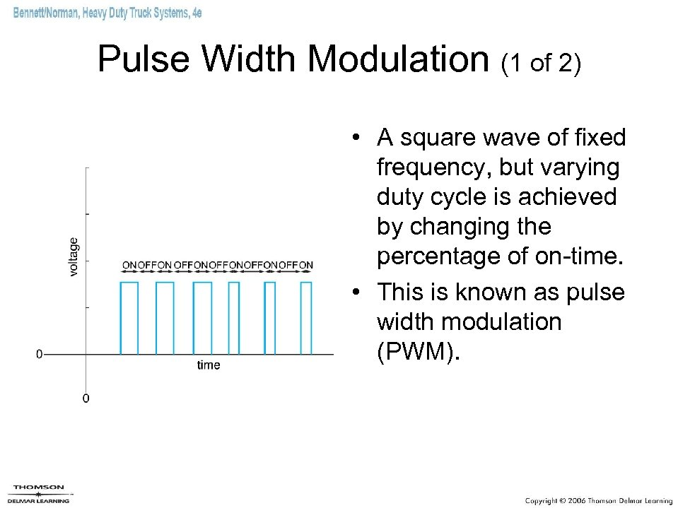 Pulse Width Modulation (1 of 2) • A square wave of fixed frequency, but