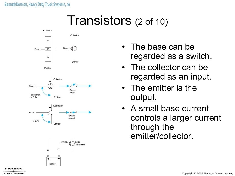 Transistors (2 of 10) • The base can be regarded as a switch. •