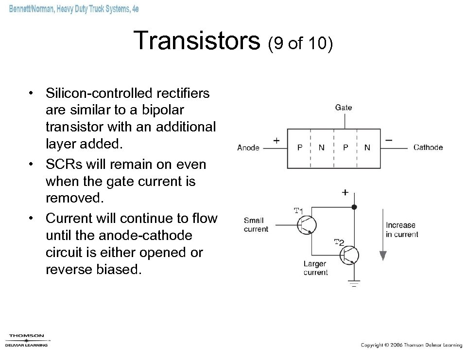 Transistors (9 of 10) • Silicon-controlled rectifiers are similar to a bipolar transistor with