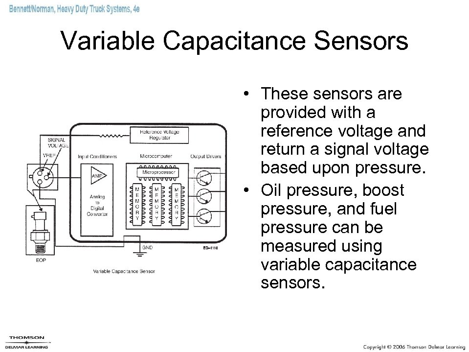 Variable Capacitance Sensors • These sensors are provided with a reference voltage and return