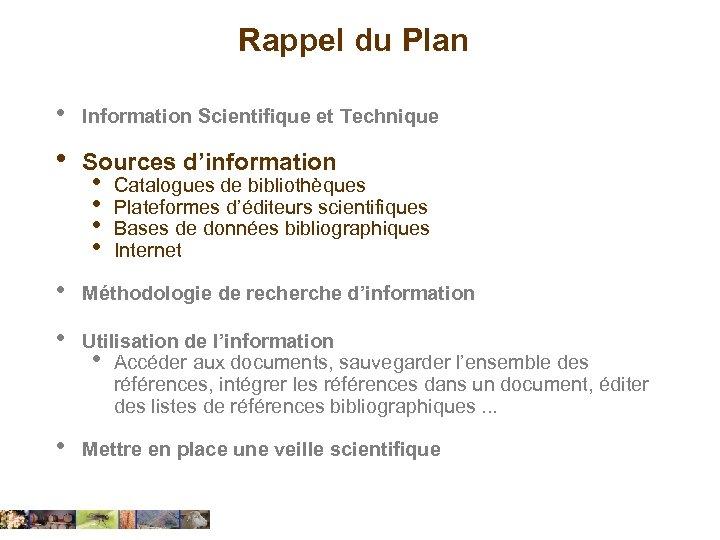 Rappel du Plan • Information Scientifique et Technique • Sources d'information • Méthodologie de