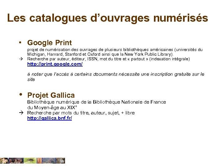 Les catalogues d'ouvrages numérisés • Google Print projet de numérisation des ouvrages de plusieurs