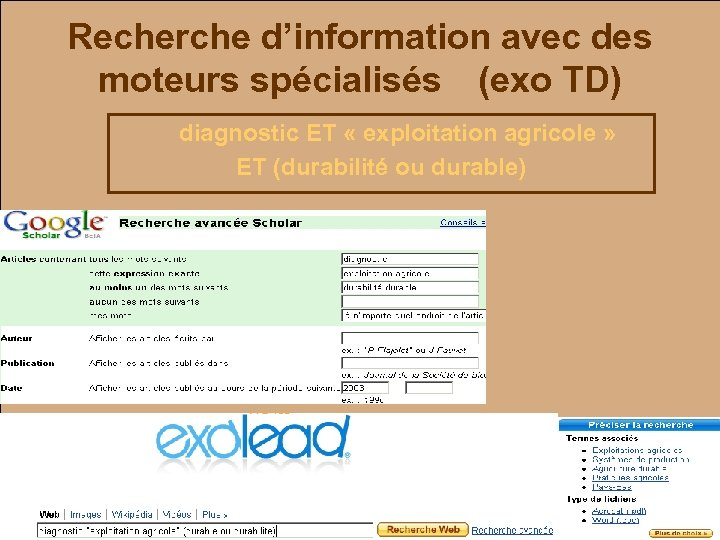 Recherche d'information avec des moteurs spécialisés (exo TD) diagnostic ET « exploitation agricole »