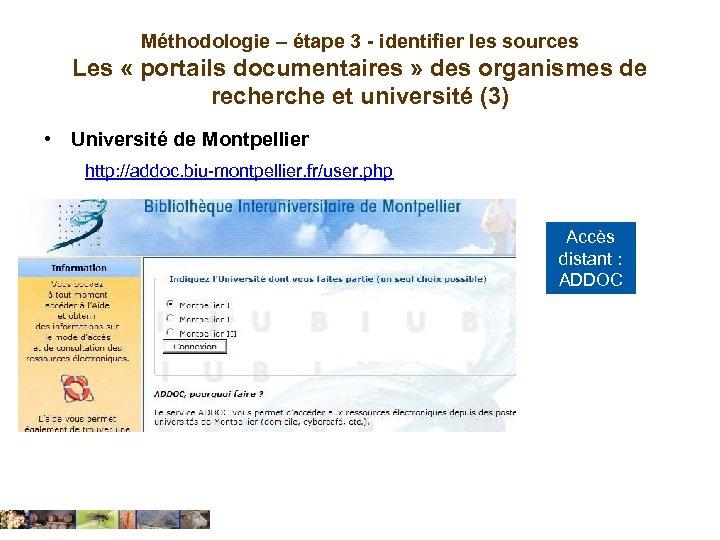 Méthodologie – étape 3 - identifier les sources Les « portails documentaires » des