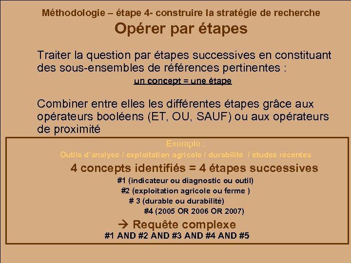 Méthodologie – étape 4 - construire la stratégie de recherche Opérer par étapes Traiter