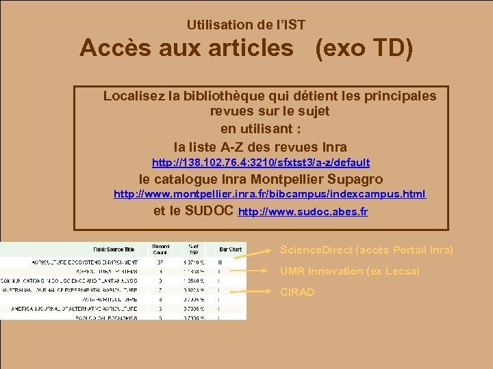 Utilisation de l'IST Accès aux articles (exo TD) Localisez la bibliothèque qui détient les