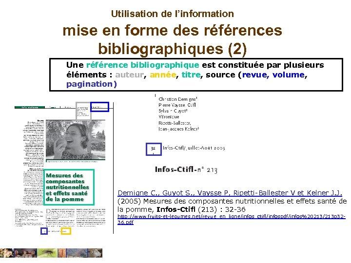 Utilisation de l'information mise en forme des références bibliographiques (2) Une référence bibliographique est