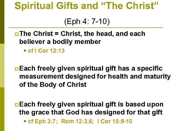 "Spiritual Gifts and ""The Christ"" (Eph 4: 7 -10) p The Christ = Christ,"