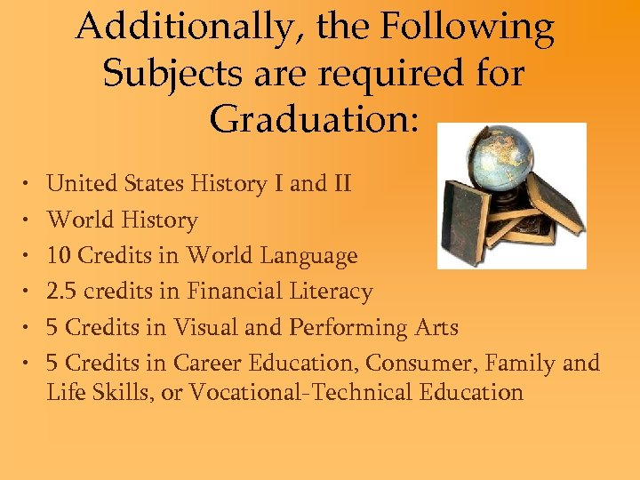 Additionally, the Following Subjects are required for Graduation: • • • United States History
