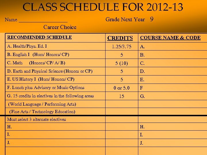 CLASS SCHEDULE FOR 2012 -13 Name _________ Grade Next Year 9 Career Choice RECOMMENDED