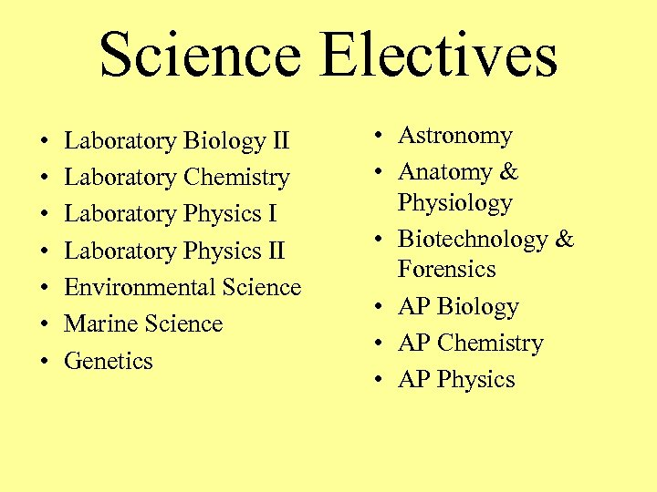 Science Electives • • Laboratory Biology II Laboratory Chemistry Laboratory Physics II Environmental Science
