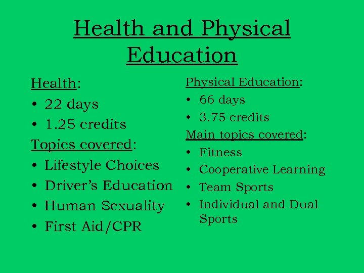 Health and Physical Education Health: • 22 days • 1. 25 credits Topics covered: