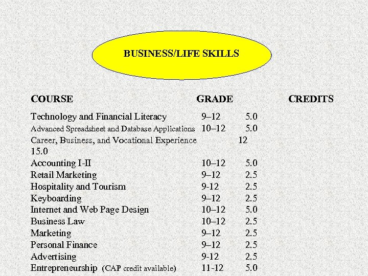 BUSINESS/LIFE SKILLS COURSE GRADE Technology and Financial Literacy 9– 12 Advanced Spreadsheet and Database