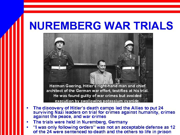 NUREMBERG WAR TRIALS Herman Goering, Hitler's right-hand man and chief architect of the German