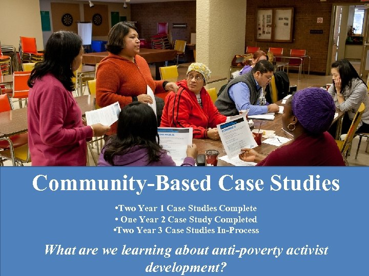 Community-Based Case Studies • Two Year 1 Case Studies Complete • One Year 2