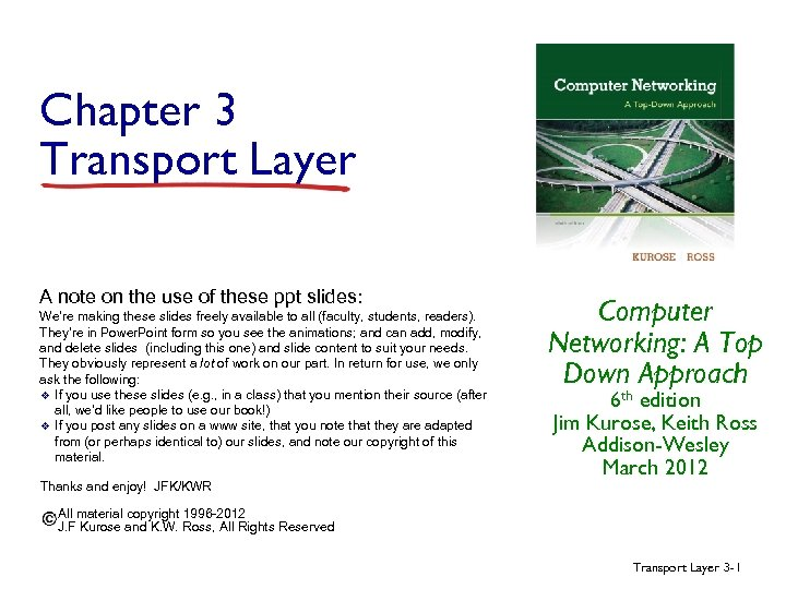 Chapter 3 Transport Layer A note on the use of these ppt slides: We're
