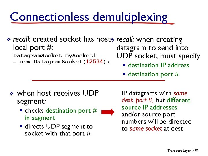 Connectionless demultiplexing v recall: created socket has host- recall: when creating v local port