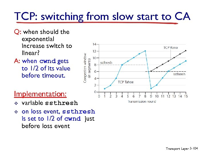 TCP: switching from slow start to CA Q: when should the exponential increase switch