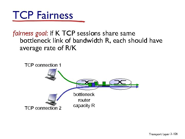 TCP Fairness fairness goal: if K TCP sessions share same bottleneck link of bandwidth