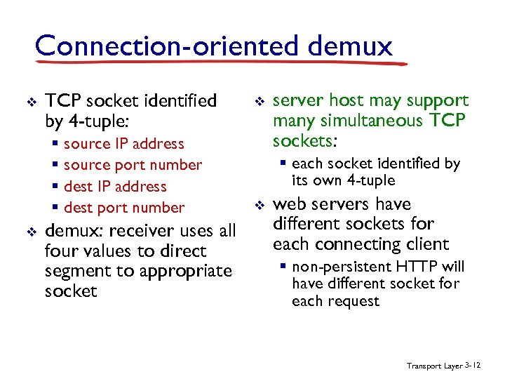 Connection-oriented demux v TCP socket identified by 4 -tuple: § source IP address §